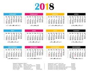 2018 kalendár